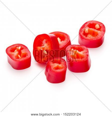 sliced red chili or chilli cayenne pepper isolated on white  background cutout