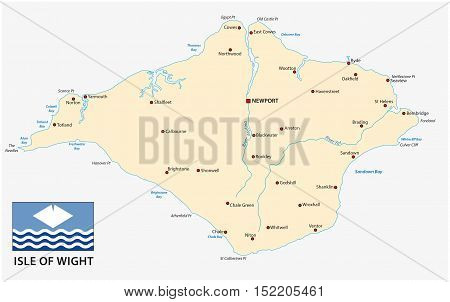 map of the isle of wight with flag