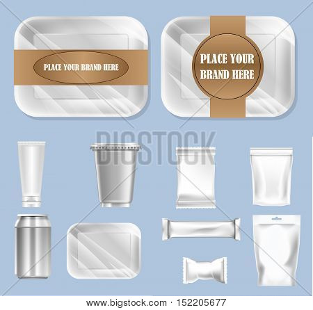 Vector set of food trail and white polyethylene foil package for sugar, bubble gum, sweets and candies mockup ready for your design