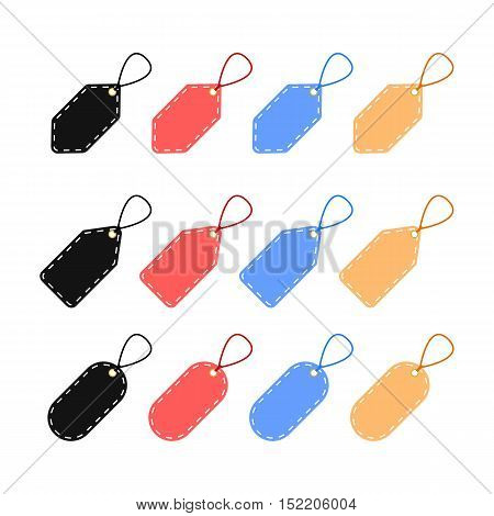 Colorful Set of Blank Tag Labels with Dashed Line