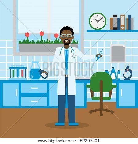 Doctor in the lab. Funny smiling african american male doctor or scientist in the medical lab. Chemistry cabinet.