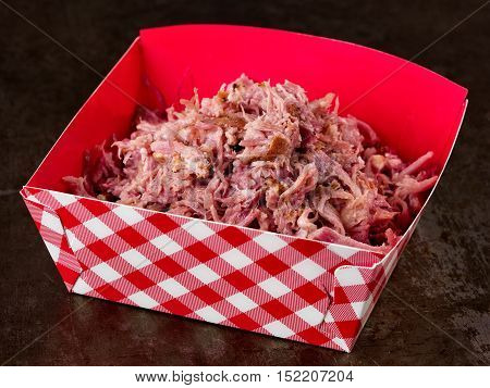 close up of rustic american pulled pork
