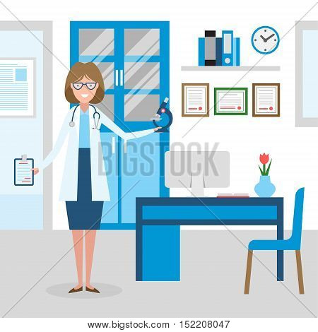 Doctor in the cabinet. Funny smiling female doctor in the medical cabinet. Medical treatment, first aid.