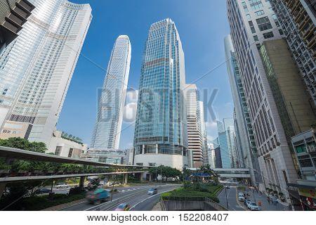 HONG KONG - SEPTEMBER 25 2015: Hong Kong city and traffic at Hong Kong China