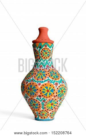 An Egyptian decorated colorful pottery vessel (arabic: Kolla) made of clay one of the oldest habits of the Ancient Egyptians