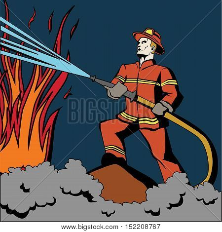 Pop art firefighter. Retro fireman in red uniform and helmet spraying water on flame. Firefighting with hose.