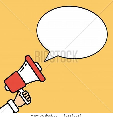 Hand with megaphone on bright orange background with blank speech bubble. Presidential campaign.