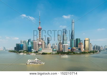 Aerial view of shanghai shanghai lujiazui finance and business district trade zone skyline with cruise ship Shanghai China