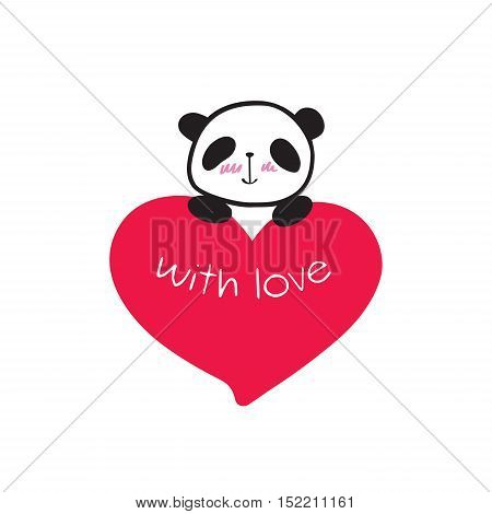 Greeting card for Valentine's Day, birthday, Mother's Day, wedding with cute panda and heart. Hand drawn panda for your design. Doodles, sketch. Vector illustration.