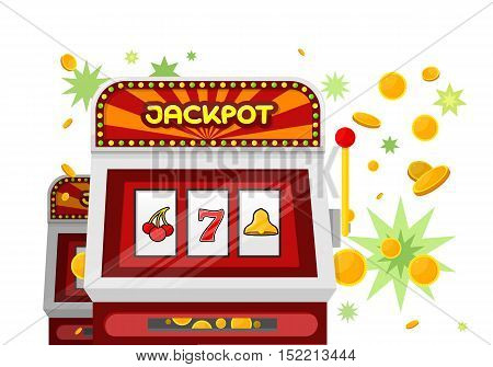 Slot machine web banner isolated on green. One arm gambling device. Casino jackpot, slot machine, fruit machine, luck game, chance and gamble, lucky fortune. Vector illustration in flat style
