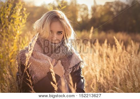 sad beautiful woman in dry cane at sunset, toned image
