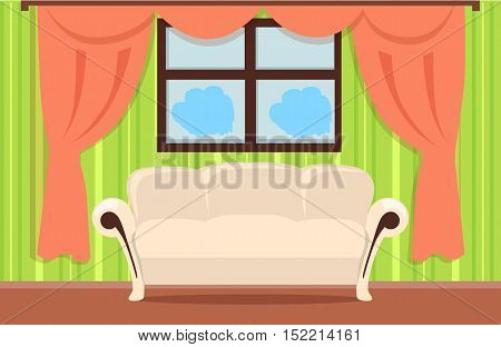 Home interior illustration with beige sofa, brown floor, red curtains, green wallpaper, window. Modern room design interior. Living room interior in flat. Vector illustration.