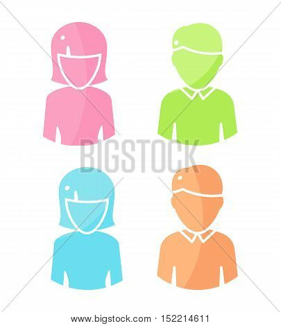 Set of people characters avatar vectors in flat design. Female and male color icons. Illustrations for identity in Internet, concepts, app pictograms, infographic. Isolated on white background.