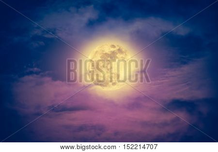 Nighttime Sky With Clouds And Bright Full Moon. Vintage Effect Tone.