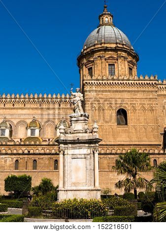 Cathedral With Monument Of Rosalia Patron Saint Of The City Of Palermo In Sicily, Italy.