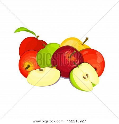Vector drawing of a few apples. Yellow, red and green apple fruits appetizing looking. Group of tasty fruits colorful design for the packaging of juice, breakfast, healthy eating, vegetarianism