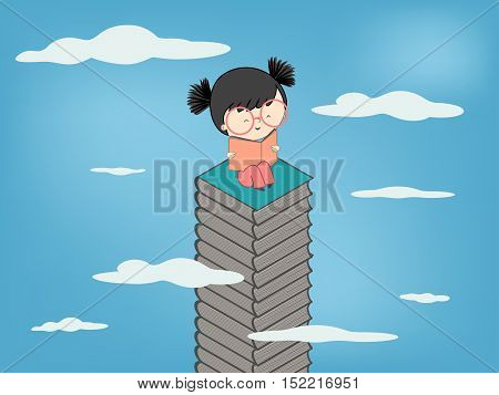 Child reading a book sitting on stack of books up to sky for children culture growth - Vector illustration