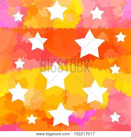 White stars on bright colorful art background