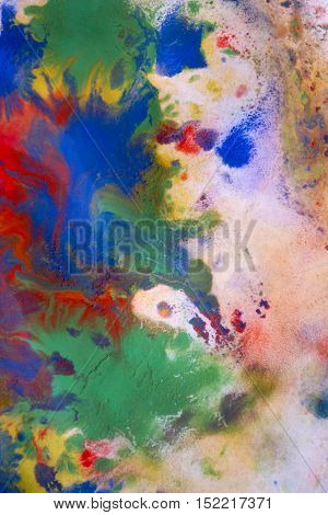 colorful splashes conveyed over wet white paper