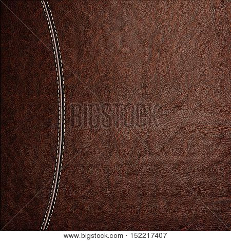 Texture of brown leather background with stitched seam, close-up. Texture for design.