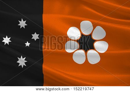 Flag of Northern Territory (NT) is a federal Australian territory in the centre and central northern regions. 3d illustration