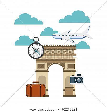 Arch of Triumph travel icons vector illustration design