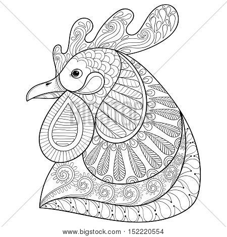 Zentangle Cartoon rooster or cock. Hand drawn sketch for adult coloring page, doodle t-shirt print. Happy Xmas decorative elements. Vector illustration for New Year 2017 greeting cards, posters.