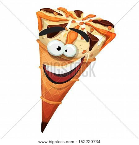 Illustration of a cartoon icecream cone character happy and smiling