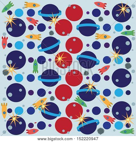 Space. Drawing for kids. Vector image to design textiles, tapestries, wrapping paper.