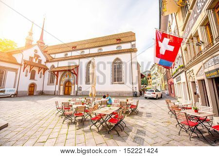 Lucerne, Switzerland - June 27, 2016: View on the square near Franciscan church in the old town of Lucerne city in Switzerland
