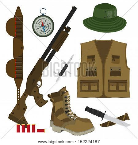 Hunter set in flat style. Camouflage hat, gun with shells, bandolier, knife, compass, army boots and hunter vest. Vector illustration.