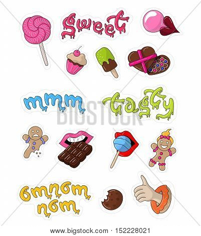 Great designed sweet vector stickers for illustrations