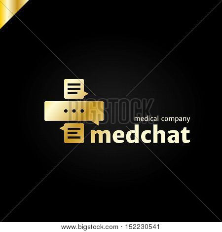 Medical Cross Health Care Talk Logo. Med Chat Logotype