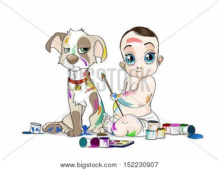 Hand drawn illustration of Baby and his snuffy puppy soiled by paints. Opened colour cans everywhere. - stock vector