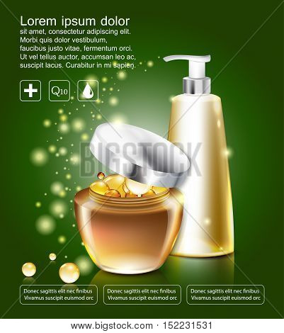 Collagen and Serum Concept Cosmetic for Skin. poster