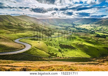 Scenic Serpentine Road in Peak District UK