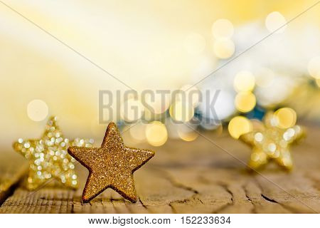 Christmas background with three stars and glitter