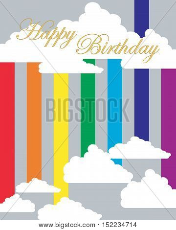 an illustration of a stylized greeting card with the words happy birthday above a rainbow with fluffy clouds