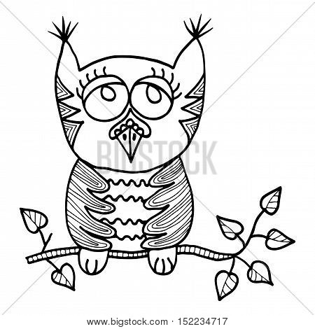 cute owl sits on a branch with leaves picture for adult coloring book page design