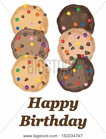 an illustration of a bithday card greeting with colorful candy cookies on a white background