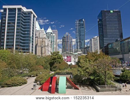 Vancouver, Canada - August 27, 2016: The City Center Around The