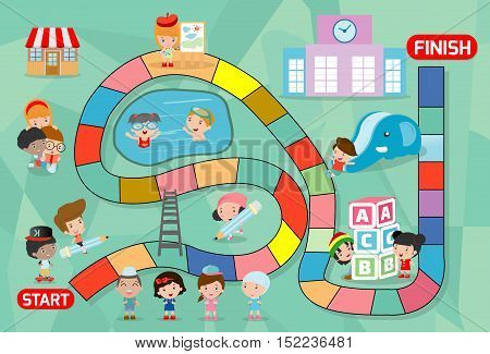 board game with kids back to school, Illustration of a board game with back to school background, kid board game, child board game, boar dgame with kids, board game with children, board game of kids.