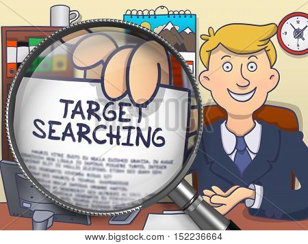 Businessman in Suit Looking at Camera and Showing a Paper with Text Target Searching Concept through Lens. Closeup View. Colored Doodle Style Illustration.