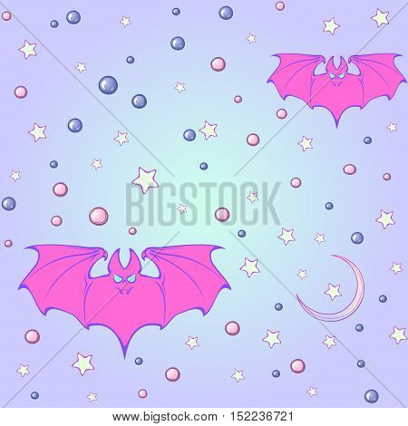 Kawaii Bats stars moon crescent and pearl gems. Festive seamless pattern. Pastel goth palette. Cute girly gothic style art. EPS10 vector illustration