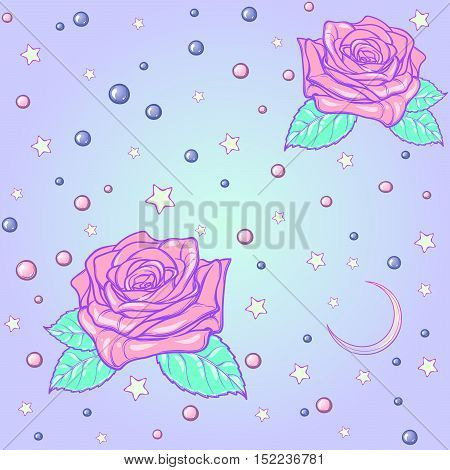 Kawaii Roses stars and moon crescent. Festive seamless pattern. Pastel goth palette. Cute girly gothic style art. EPS10 vector illustration