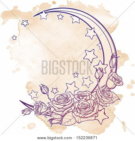 Kawaii Night sky composition with Roses, stars and moon crescent. Festive background or greeting card. Hand drawn intricate sketch on grunge background. Girly vintage art. EPS10 vector illustration