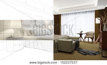 CAD plan from hotel room and bed in different stages of planning (3D Rendering)