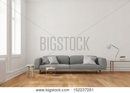 Space for canvas on wall over couch in living room (3D Rendering)