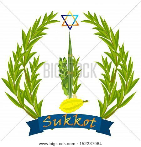 Sukkot Jewish holiday vector. Jewish torah Lulav date palm Etrog citron Arava willow and Hadas myrtle Jewish festival Sukkot species lulav. Palm branch willow and myrtle leaves etrog.