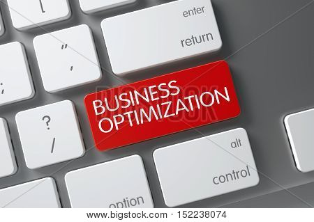 Concept of Business Optimization, with Business Optimization on Red Enter Button on Modern Keyboard. 3D Illustration.